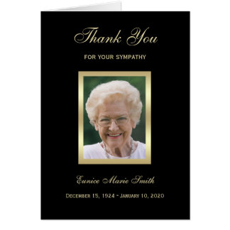 Sympathy Memorial Thank You Note Card with Photo