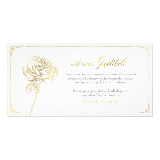 Sympathy Thank You Card, Memorial, Rose Gold Picture Card