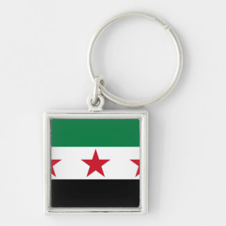 syria opposition Silver-Colored square key ring