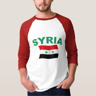 Syria Wavy Flag - Green Letters T-Shirt