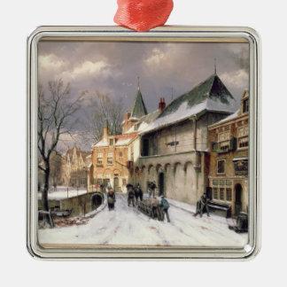 T31117 A View of a Dutch Town in Winter Silver-Colored Square Decoration