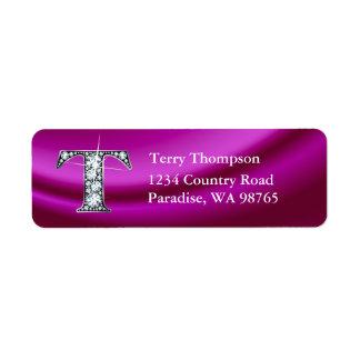 """T """"Diamond"""" Bling Monogram Return Address Label"""