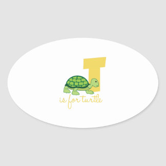 T Is For Turtle Oval Sticker