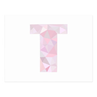 T - Low Poly Triangles - Neutral Pink Purple Gray Postcard
