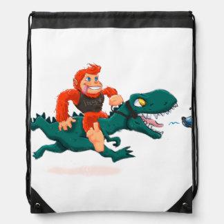 T rex bigfoot-cartoon t rex-cartoon bigfoot drawstring bag