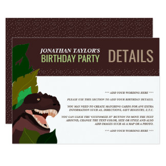 T Rex Dinosaur Party Children's Birthday Detail Card