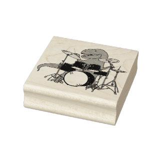 T-Rex Drummer Rubber Stamp