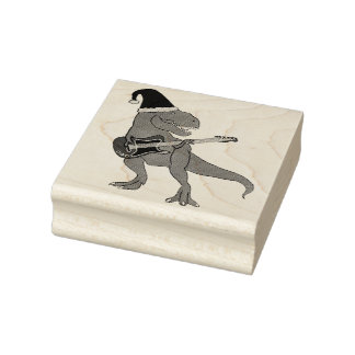 T-Rex Guitar Christmas Rubber Stamp