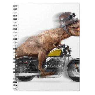 T rex motorcycle-tyrannosaurus-t rex - dinosaur spiral notebook