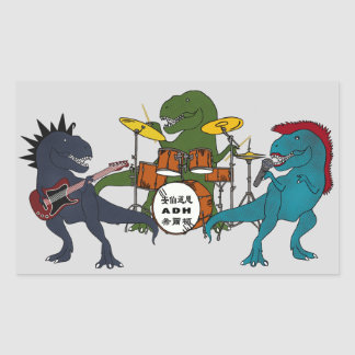 T-Rex Rock Band Rectangular Sticker