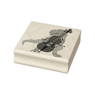 T-Rex Upright Bass Rubber Stamp
