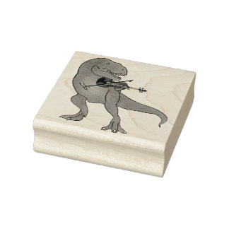 T-Rex Violin Rubber Stamp