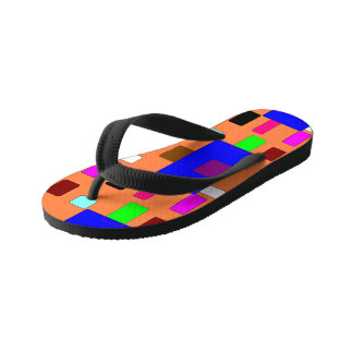 Tab – Abstract Art on Orange Background Kid's Jandals