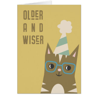 Tabby Cat with Glasses Birthday Card