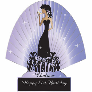 Table/Cake Topper- Personalize Party Girl - Purple Photo Cutout