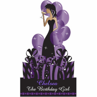 Table Cake Topper- Personalize Party Girl - Purple Acrylic Cut Out