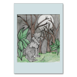 table card light blue with forest back and wolf