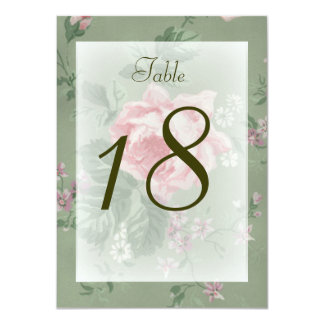 Table Number Card Green & Pink Rose Simple Wedding