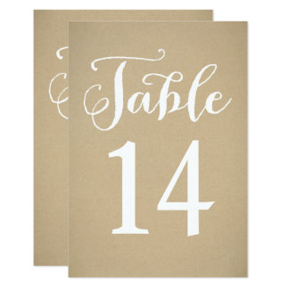 Table Number Card | Kraft Brown