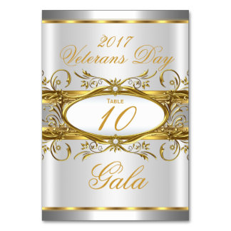 Table Number Gold Silver White and Gold Plaque Table Cards