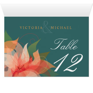 Table Numbers Orange Teal Floral Inside Fold-over Greeting Card