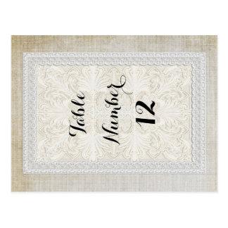 Table Numbers Rustic Lace w Aged Vintage Linen Postcard