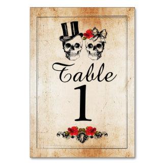 Table Numbers Wedding Sugar skulls Rustic Cards Table Card