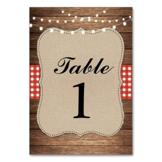 Table Numbers Wedding Wood Red Rustic Burlap Cards Table Cards
