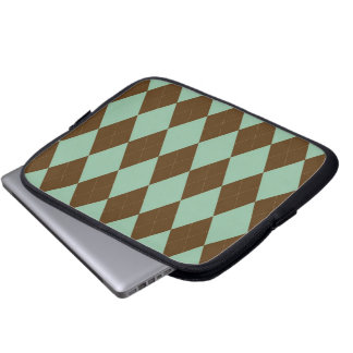 Tablet & Laptop Sleeve - Argyle D  - Mint Chocolat