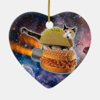 taco catand rockethamburger in the universe christmas ornament