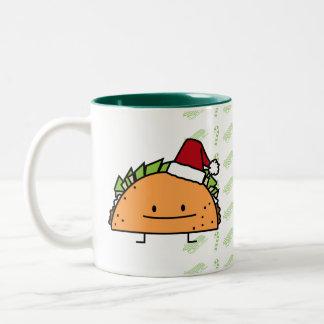 Taco wearing Santa Hat Christmas shell meat salsa Two-Tone Coffee Mug