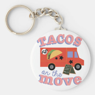 Tacos On The Move Basic Round Button Key Ring