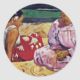 Tahitian Women On The Beach By Paul Gauguin Classic Round Sticker