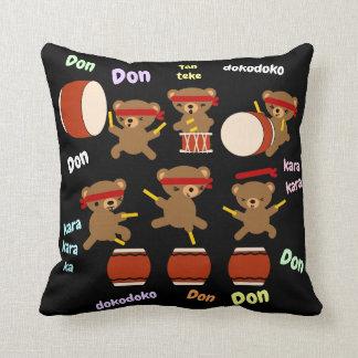 Taiko Drum Gifts Cute Bears Drumming Decor Custom Cushion