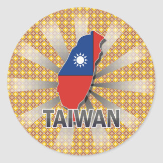 Taiwan Flag Map 2.0 Classic Round Sticker