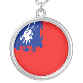 Taiwan Gnarly Flag Round Pendant Necklace