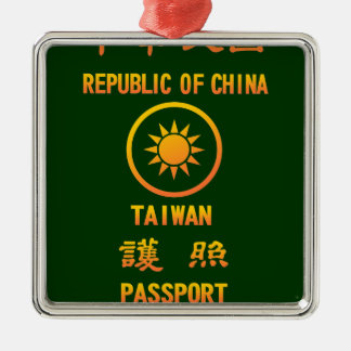 Taiwan Passport Silver-Colored Square Decoration