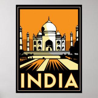 taj mahal india art deco retro poster