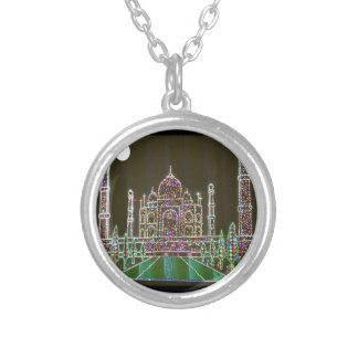 TAJ Mahal Mughal Architecture India Agra Heritage Silver Plated Necklace