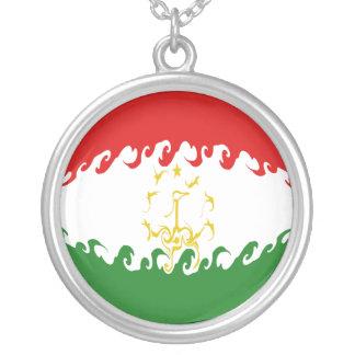 Tajikistan Gnarly Flag Round Pendant Necklace