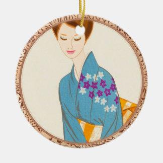 Takasawa Keiichi tender japanese lady portrait art Round Ceramic Decoration