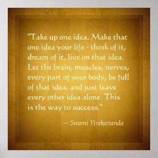 Take Up One Idea Swami Vivekananda Success Quote Poster