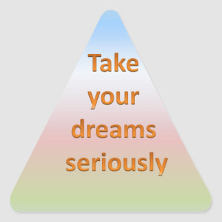 Take  your  dreams  seriously triangle sticker