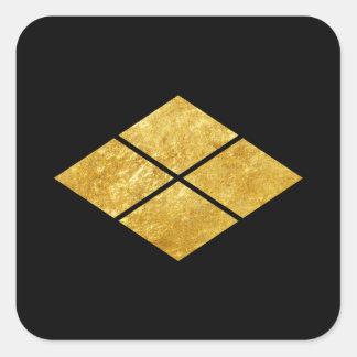 Takeda kamon Japanese samurai clan faux gold Square Sticker