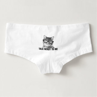 TALK NERDY TO ME funny cat womens underwear Hot Shorts