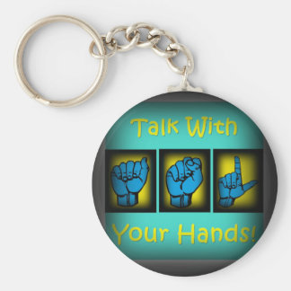 Talk With Your Hands (2) Basic Round Button Key Ring