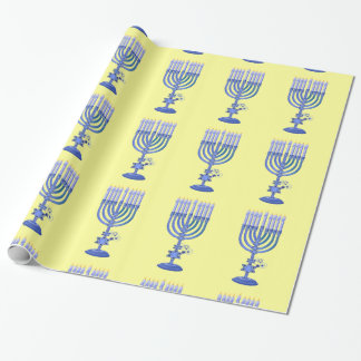 Tall Blue Menorah Wrapping Paper