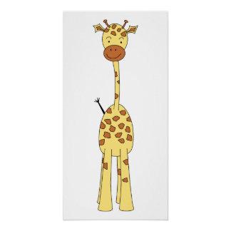 Tall Cute Giraffe. Cartoon Animal.