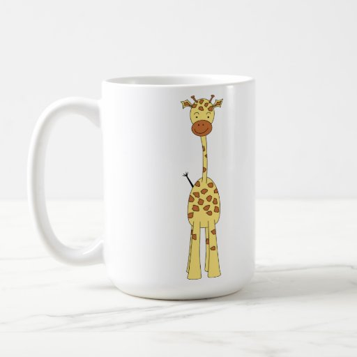 Tall Cute Giraffe. Cartoon Animal. Basic White Mug