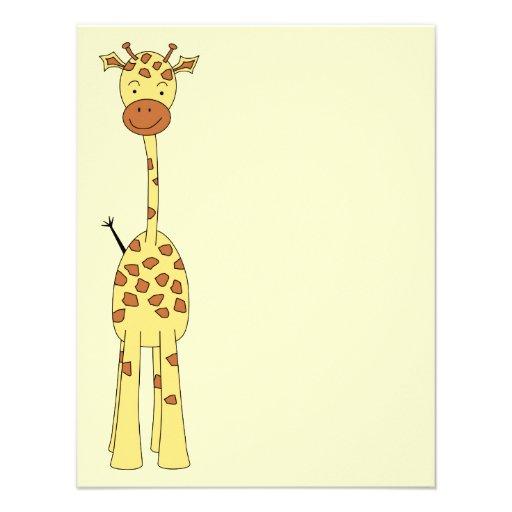 Tall Cute Giraffe. Cartoon Animal. Invites
